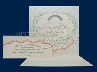 Invitaciones Vintage para Boda 302B