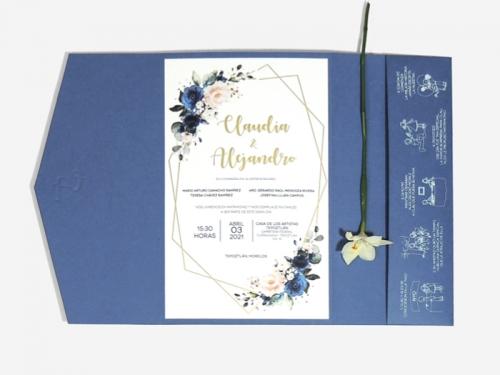Invitacion azul brillante para boda con diseño botánico.
